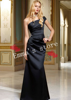 Free Shipping Plus Size Modest 2014 New Kids Abendkleid A-Line One-Shoulder Long Pleat Beaded Black Satin Bridesmaid Dresses
