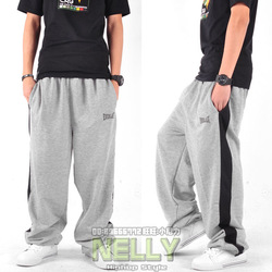 Hot Ever last grey color block lovers hip-hop hiphop wei pants sports pants casual Free shipping(China (Mainland))