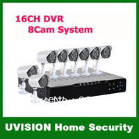 16 Channel Home Security DVR Recorder System 8PCS IR Weatherproof Surveillance CCTV Camera Kit + Free Shipping