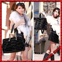 2014Hot Sales High Quality Korean Version Of Casual Simplicity Plush Mobile Chain Black Velvet Handbag,DropShipping