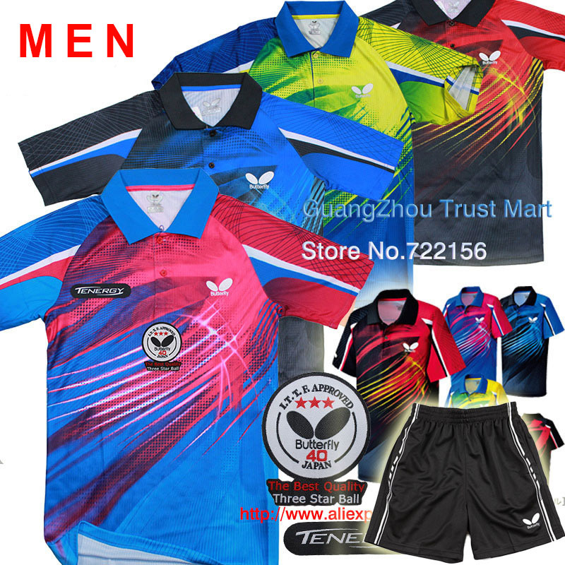 Free shipping!(TENERGY+3STARS LOGO) Butterfly table tennis shirts/game shirts / Table Tennis clothes men / sport shirts(China (Mainland))