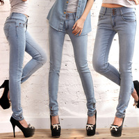 Slim trousers breasted row of plastic washing retro wild solid color pencil pants 766 #