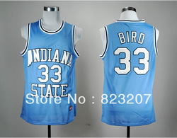 Free shipping Wholesale Embroidery logos Hot Cheap ncaa Throwback jerseys Indiana State #33 Larry Bird College Basketball Jersey(China (Mainland))