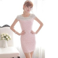 New Arrival Free Shipping Pink Dreses Ladies Diamond Cutout Embroidery Lace Slim Dress Beading Flower Short Sleev Hip Lift Dress