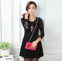 2013 spring skirt women's slim one-piece dress nude color blending cotton lace skirt