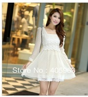 Free shipping 2013 new water jade little long-sleeved Korean version of Slim bottoming lace dress chiffon skirt dress skirt