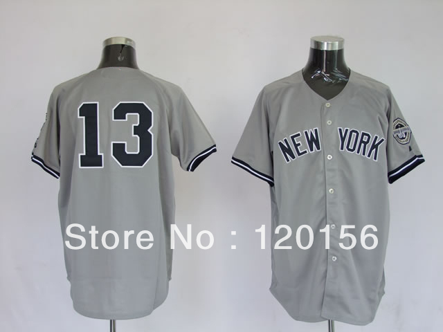 New Hot 13 Alex Rodriguez Embroidered Logo Grey Baseball Jerseys(China (Mainland))