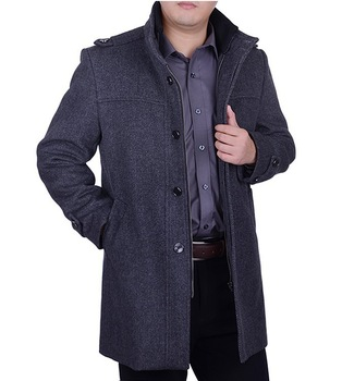 Free shipping !!! Selling men 's winter clothes in the long section collar leisure thick warm wool woolen coat / M-XXXL