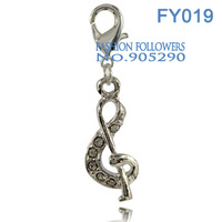 Free Shipping Fashion Charms For Jewelry Bracelets & Necklace Music Note Shaped Alloy Lucky Charms With Lobster Clasp FY019