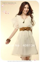 Free Shipping woman dress,wave sleeve chiffon dress 1pcs dropshipping,4 color to choose,waist belt not including