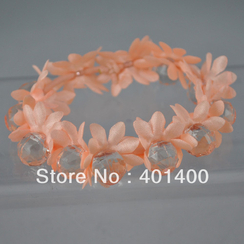 Mini order $10 Fashion Women Flower Elastic Ponytail Holder Acrylic Beads Hair Ornaments Free Shipping Many Countries(China (Mainland))