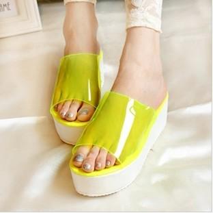 Summer all-match transparent film candy color drag platform wedges sandals slippers women's shoes
