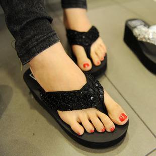 Amii amy paillette flip flops platform wedges platform flip slippers beach slippers female