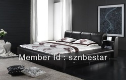High quality leather bed soft bed modern bed bedroom furniture home furniture(China (Mainland))
