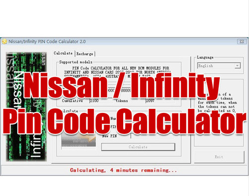 for Nissan Infinity PIN Code Calculator for All New BCM Modules(China (Mainland))
