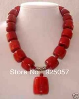 "Amazing Red Cylinder Coral   Necklace 18"" AAA Fashion jewelry"