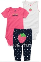 Free Shipping carter's baby 3 pcs bodysuit with pants set, sweet strawberry design,  5SETS/LOT