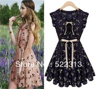 2013 New Summer women Chiffon Dress with sashes printed Floral Fashion Cute Short Skirt