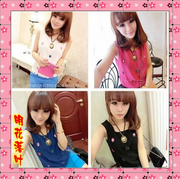 Hot selling S0 clothes women&#39;s personalized clothes fashion mushroom vest(China (Mainland))