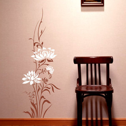 Chinese Style Wall Sticker Plant Lotus Flowers Design Stickers TV Sofa Dining Room Home Decoration(China (Mainland))