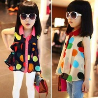 2013 female child summer dot all-match T-shirt child sleeveless chiffon shirt baby top basic shirt