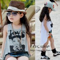 2013 female child summer personality irregular placketing Leave two child skirt spaghetti strap tank top kid's skirt