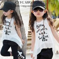 202013 female child summer chiffon atchwork lettper vest t-shirt basic shirt sleeveless spaghetti strap top