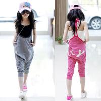 2013 female child summer letter child stripe jumpsuit halter-neck jumpsuit siamese trousers