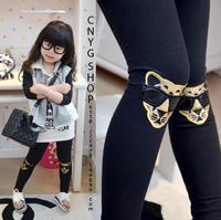 2013 female child spring glasses leopard  child trousers skinny legging pants