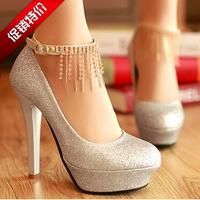 2013 fashion elegant  rhinestone chain platform wedding shoes 12 cm high heels women's pumps & gold,silver ,red free shipping