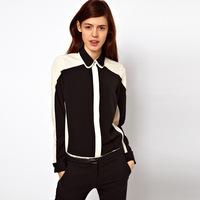 hot sale 2014 new arrivel fashion turn down collar long sleeve women chiffon blouses