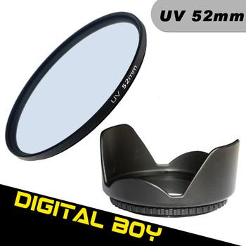(2pcs/1lot)1pcs Digital Boy 52mm UV Ultra-Violet Lens Filter+52mm Lens Hood Filter kit Protector for Canon Nikon d3100 d5100