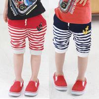 Wholesale Kids' Stripes pirate pants boys anchor capris woven summer knee-length trousers