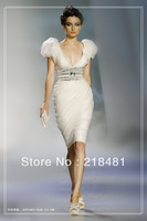 ZH-125 2013 New Arrival Hotsale Luxurious Sexy V-neck Puff sleeves  Bling Bling Beads Crystal  Zuhair Murad  Evening dresses
