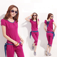 2013 Summer casual  fashion sweatshirt short-sleeve  female sportswear suits,M-L-XL-XXL,Free shipping