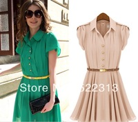 2013 New Summer turn down collar women High End Elegent Dress Matching Sashes Fashion Short Skirt