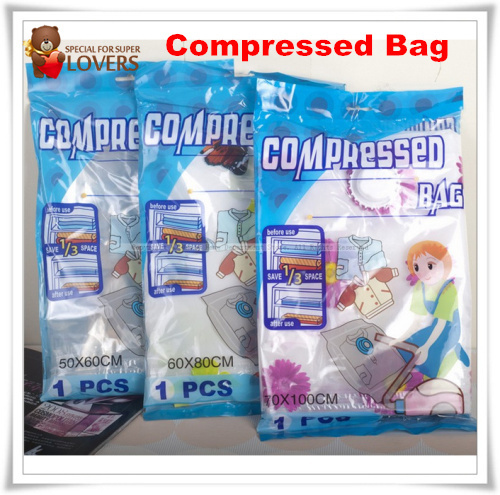 Vacuum Compressed Bag Clothes Vacuum Space Saver Compressed Storage Bag 50cm--100cm 5 PCS Free Shipping(China (Mainland))