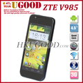Freeshipping! ZTE V985 Quad Core 1.5GHz 1G RAM+ 4G ROM 4.5 Inch IPS HD 1280*720p Screen 8.0MP Camera 3G Android Phone In Stock!