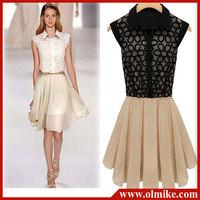 Free Shipping Dress lace chiffon wholesale 2014 Summer new women dress lapel sleeveless Cut flowers Paneled Dress 2 Color