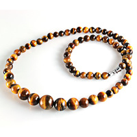 Gift certificate cheap wholesale natural tiger's eye necklace natural boutique Korean natural gemstone necklace