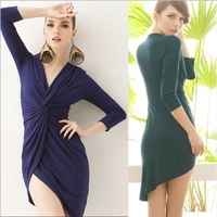 E6785 Europe and the United States sexy low-cut deep V-slit irregular dress Slim package hip bottoming banquet dress Spring and