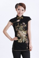 """Black New Chinese Women's Lace Embroidery Shirt Blouses with Phoenix S M L XL XXL XXXL """" LGD A0046-A """""""