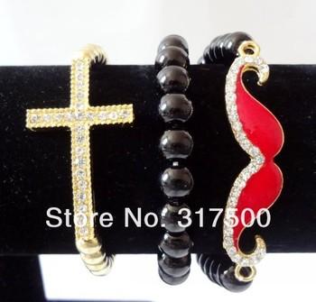 Clear Rhinestone &8mm glass and CCB(bead) Sideways /Cross &goatee/Stretch Bracelet /For women