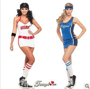 Halloween props, costumes dynamic piece blue cheerleading, basketball, football baby clothing / sexy uniforms, wholesale