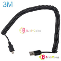 10ft 3M Spring Coiled USB 2.0 Male to Micro USB 5 Pin Data Sync Charger Cable [23669|01|01]