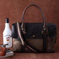 Fashion messenger bag casual bag fashion vintage canvas bag handbag cowhide cross-body one shoulder outdoor backpack