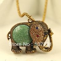 Free Shipping! Spot Sale New Bohemian Fashion Jewelry Retro Alloy Rhinestone Sweater Women Chain Elephant Necklaces & Pendants