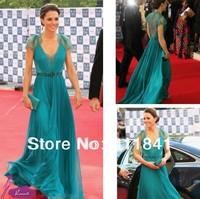 Free shipping Kate Middleton Chiffon Lace Evening Dress London Olympic gala 2014 Formal Celebrity Prom dress Green evening dress