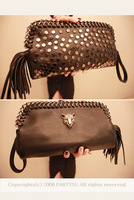 Fashion  2013 clutch leopard head rivet bag tassel bag