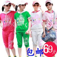 Children's clothing 2012 summer female child short-sleeve T-shirt capris casual sports clothing set
